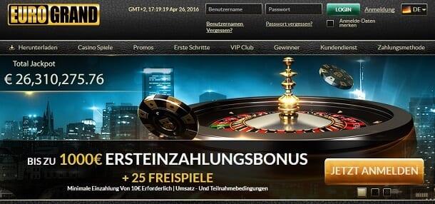 Zahlungsmöglichkeiten im EuroGrand Casino
