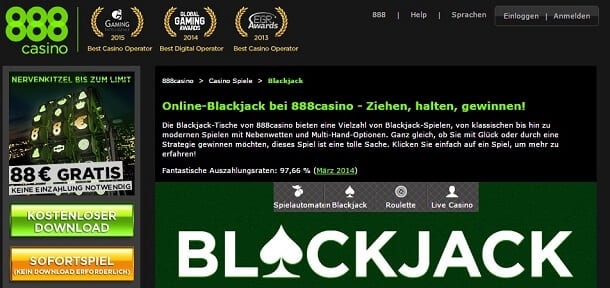 BlackJack im 888Casino