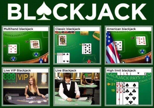 888Casino BlackJack: 10 Versionen spielbar