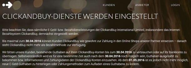 ClickandBuy beendet seinen Service