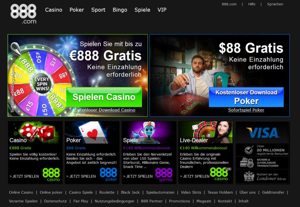 888.com im Überblick