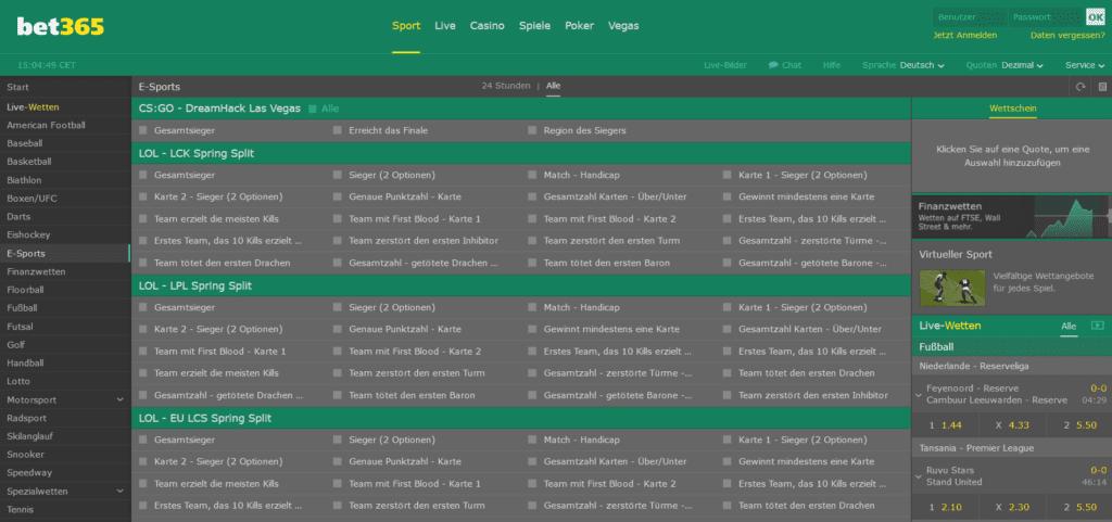 eSport-Wetten bei bet365