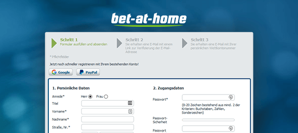 Bet-at-Home Registrierung