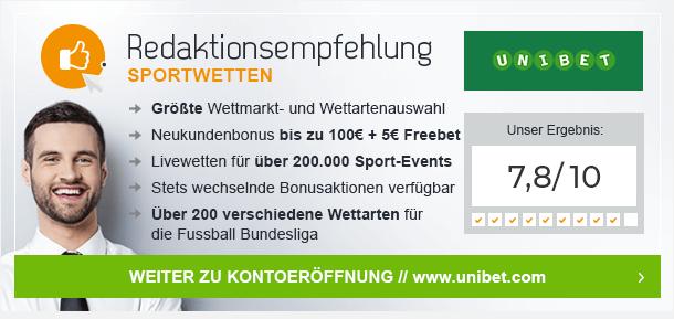 Redaktionsempfehlung WM 2018 Unibet | 5 Euro Gratis + 100 Euro Bonus für Neukunden