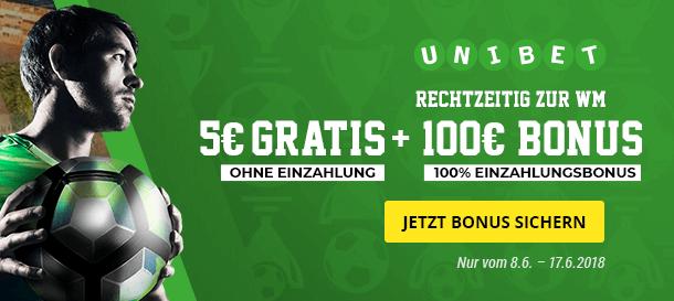 Unibet WM Bonus für Neukunden | 5 Euro gratis & bis zu 100 Euro Bonus