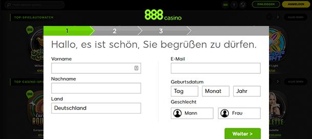 888Casino Registrierung