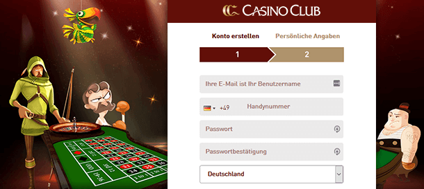 CasinoClub Registrierung