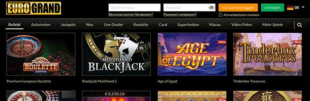 EuroGrand Spieleauswahl