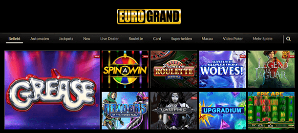 Eurogrand Casino Spieleangebot