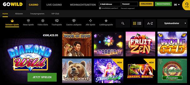 Go Wild Casino: Spieleangebot bei Gowild