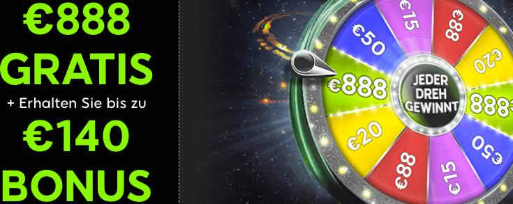 888 Casino Bonus ohne Einzahlung: Bis zu 888€ Gratis am Glücksrad
