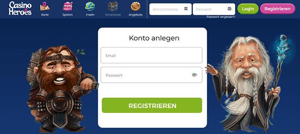 Casino Heroes Registrierung