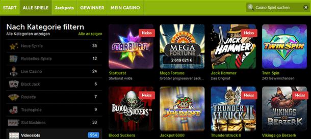 ComeOn! Casino Spiele