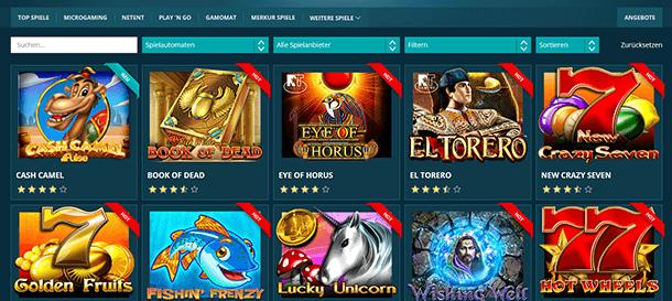 Platin Casino Spieleangebot