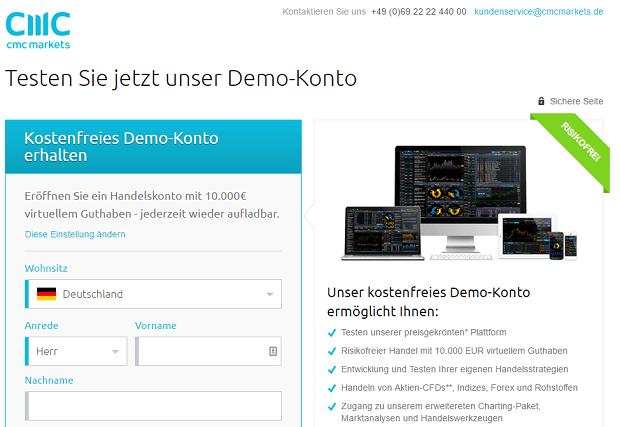 CMC Markets Demokonto-Eröffnung