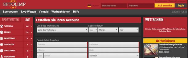 Betolimp Wette Sport Bonus Registrierung