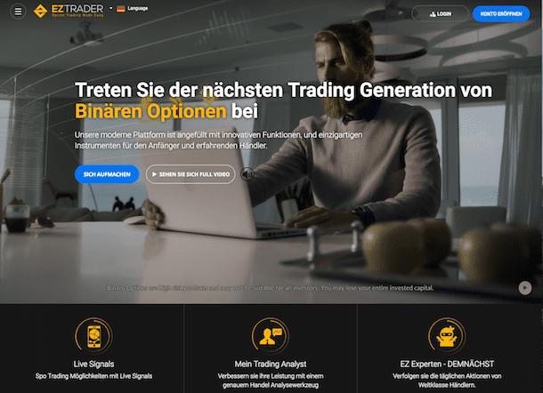 EZTrader Erfahrungen: Die EZTrader Webseite