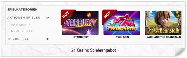 21 Casino Spielangebot