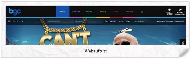 BGO Casino Webauftritt