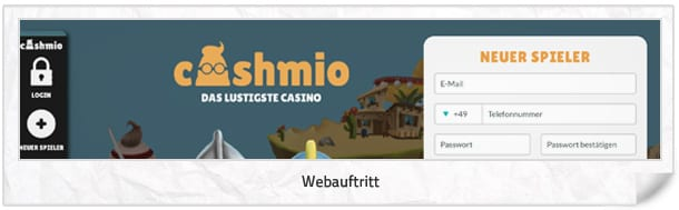 Cashmio Casino Webseite