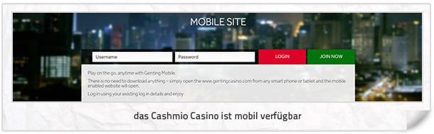 Cashmio Casino mobil
