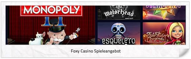 Foxy Casino Spielangebot