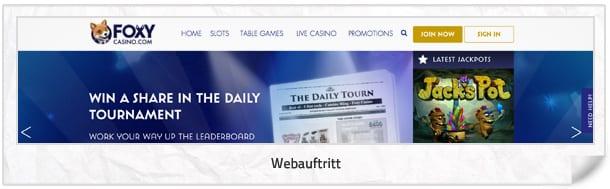 Foxy Casino Webseite