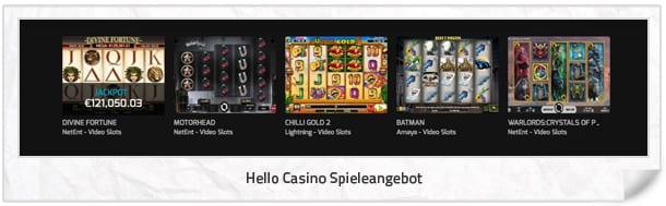 Hello Casino Spielangebot