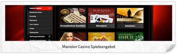 Mansion Casino Spielangebot
