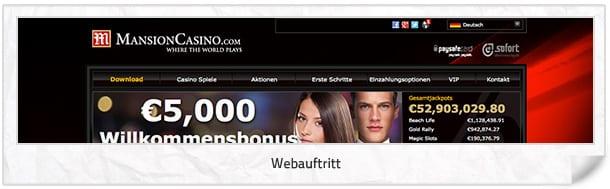 Mansion Casino Webseite
