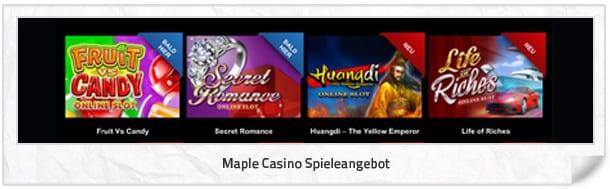 Maple Casino Spielangebot