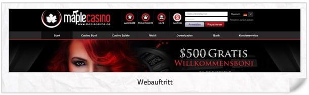 Maple Casino Webseite