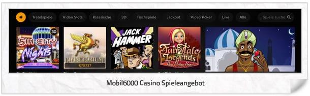 Mobil6000 Casino Spielangebot