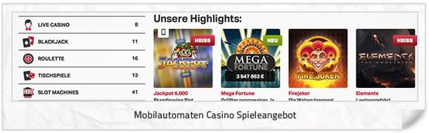 Mobilautomaten Casino Spielangebot