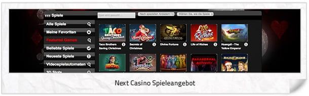 Next Casino Spielangebot