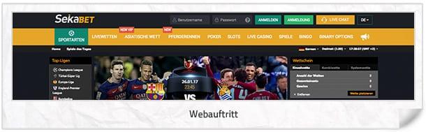 Sekabet Webauftritt