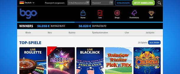 Bildschirmfoto der Startseite vom BGO Casino