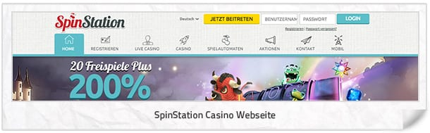 SpinStation Casino Webseite