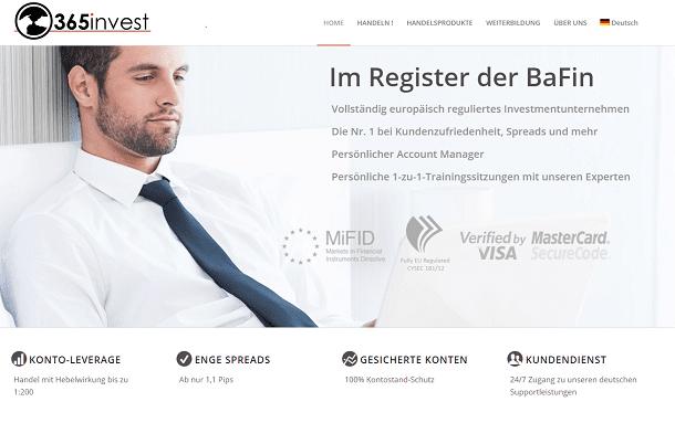 365invest Webseite