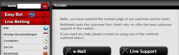 Betrebels Kundenservice unter anderem per Live-Chat und Telefon erreichbar