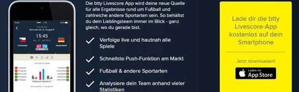 Btty Livescore App für iOS und Android verfügbar