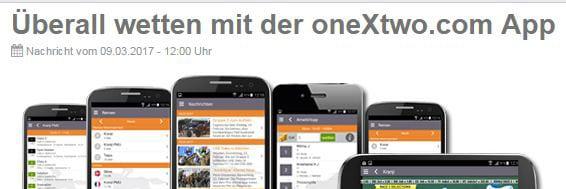 Mobile OneXTwo App für iOS und Android verfügbar