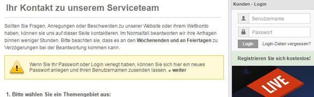 OneXTwo Kundensupport per Kontaktformular erreichbar
