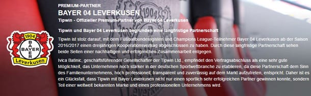 Tipwin als Premium-Partner von Bayer 04 Leverkusen