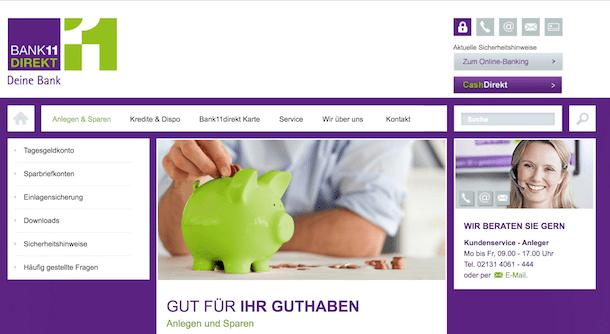 Bank11direkt Geldanlage