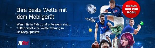 10bet Sportwetten Überblick mobile App