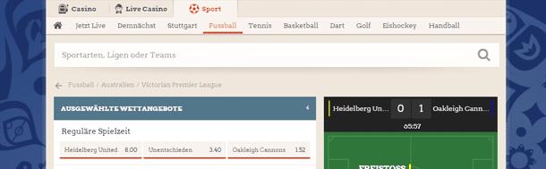 LeoVegas Sport Live Wetten Ticker
