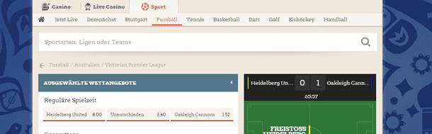 LeoVegas Sport Live Ticker
