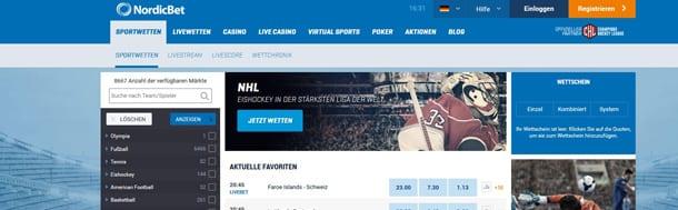 Überblick Angebot Sportwetten Nordicbet