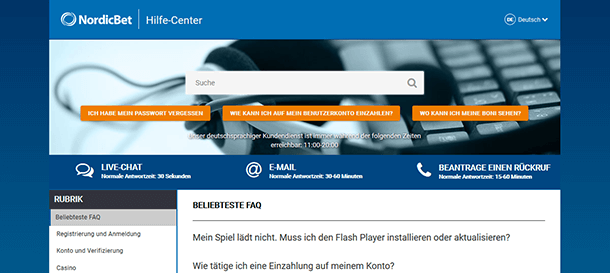 NordicBet Kundensupport